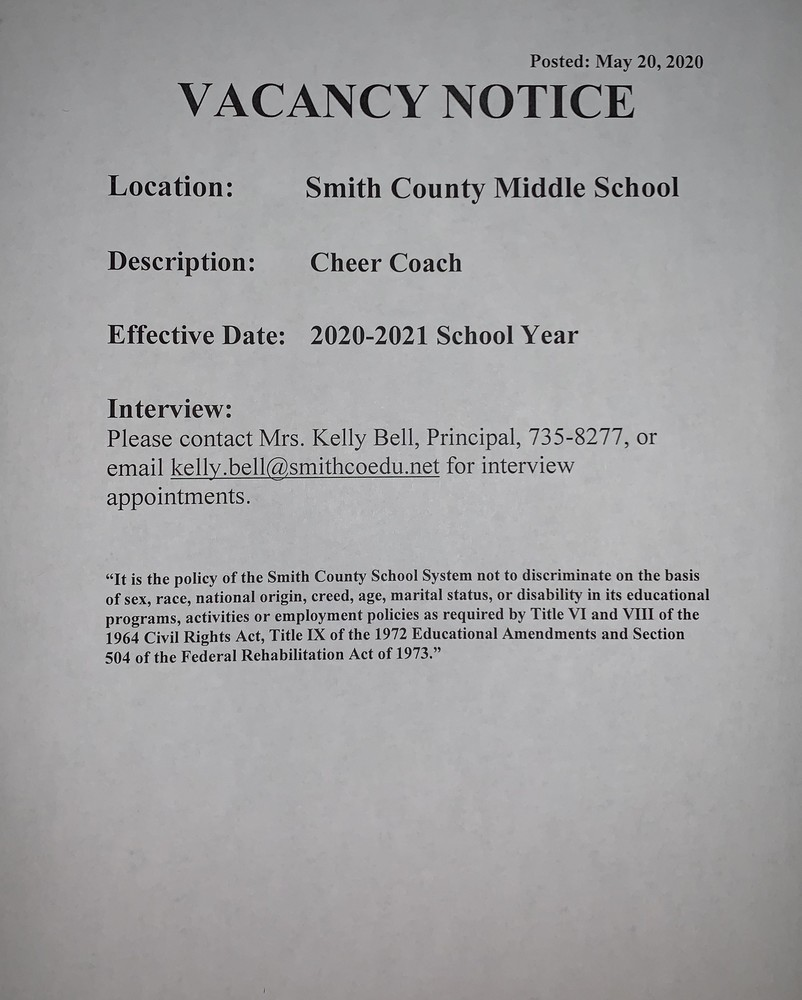 Cheer Coach - Smith County Middle School