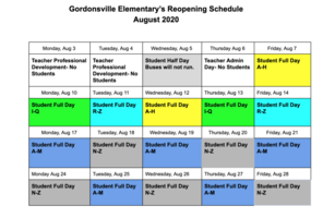 GES Staggered August Schedule